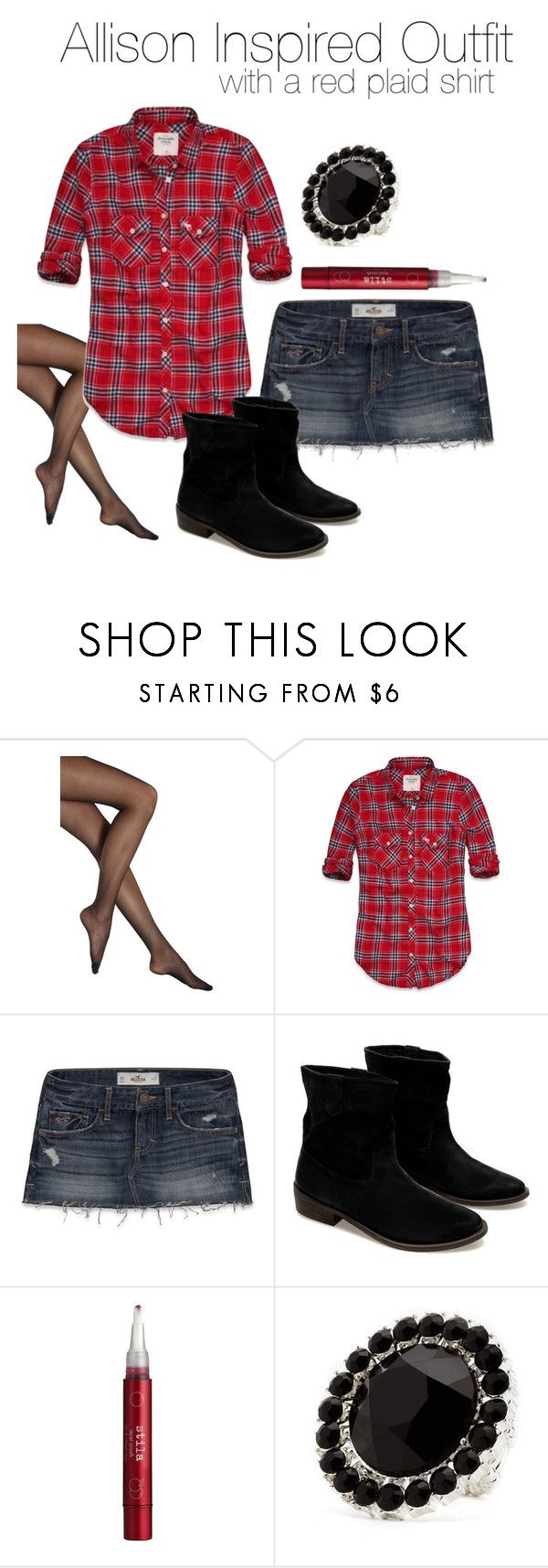 Allison Inspired Outfit With a Red Plaid Shirt by veterization on Polyvore featuring Abercrombie & Fitch, Hollister Co., Falke, Zara, Charlotte Russe and Stila