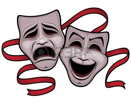 Illustration of comedy and tragedy theater masks with a red ribbon  Stock Vector