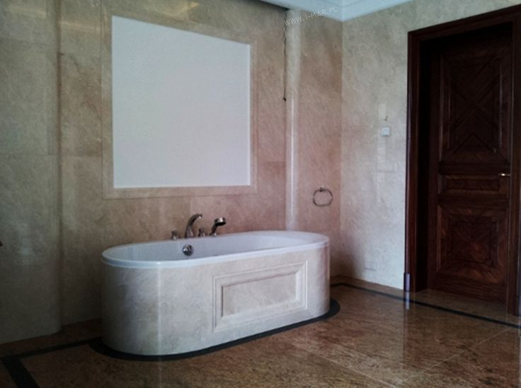 @imarpolska Przedsiębiorstwo Kamieniarskie: Łazienka wykonana z marmuru Crema Marfil oraz granitu Madura Gold. / Bathroom made of marble #CremaMarfil and granite #MaduraGold.