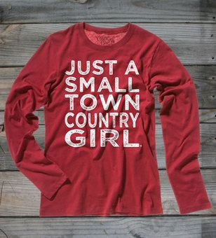 Cardinal Red - Juniors Small Town Country Girl ® Long Sleeve Tee  #CountryGirl #CountryBoy #WinterClothing