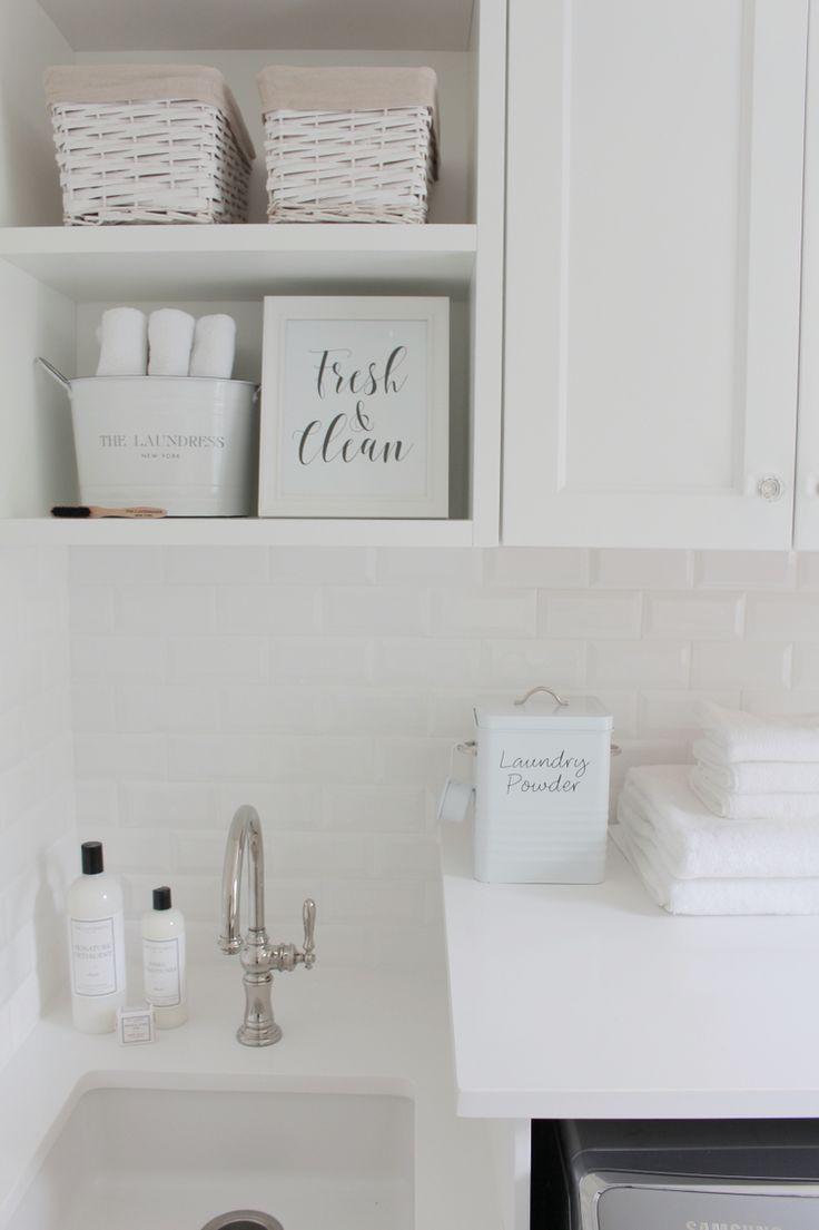 @jshomedesign home  laundry room, white subway tile, white quartz countertop…