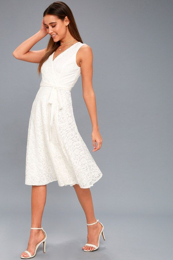 Lulus exclusive! The romance is real in the Siana White Lace Wrap Midi Dress! Elegant floral lace shapes a sleeveless, princess-seamed bodice, and tying, fitted waist. Full wrap midi skirt.