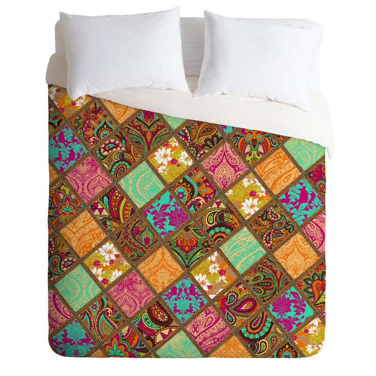 Aimee St Hill Patchwork Paisley Orange Duvet Cover   DENY Designs Home Accessories