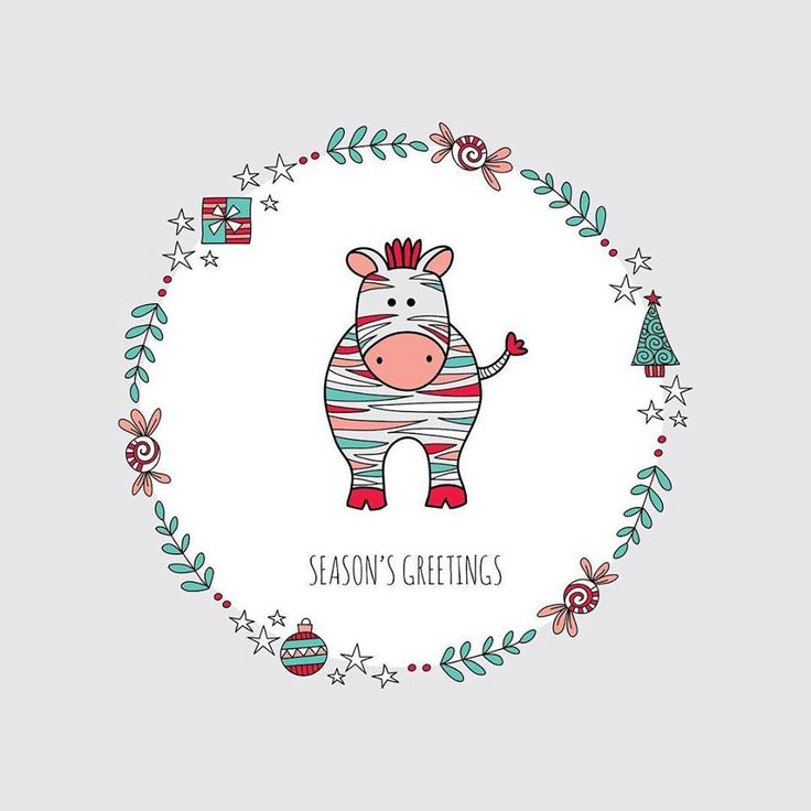 Zebra illustration with a Christmas themed wreath. #seasonsgreetings #christmas2017 #zebra #vectorart #taziart#shutterstock #istock