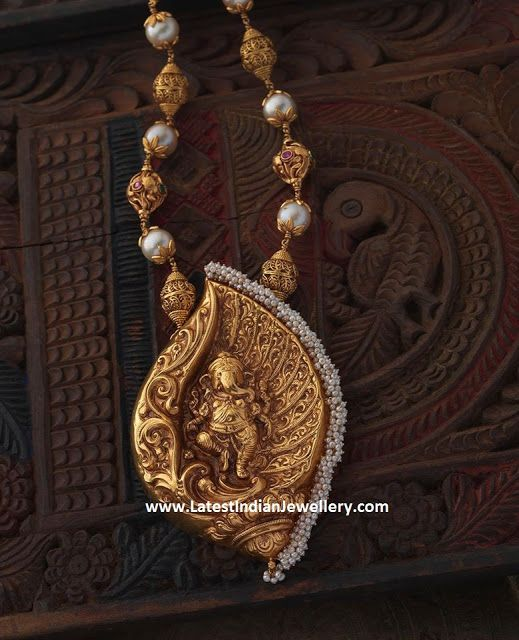 Ganesh Pendant Gold Beads Necklace
