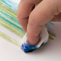 BABY WIPE TECHNIQUE  Directions: 1) Squeeze a few drops of ink on a baby wipe; the moistened material absorbs the colors and creates a on...