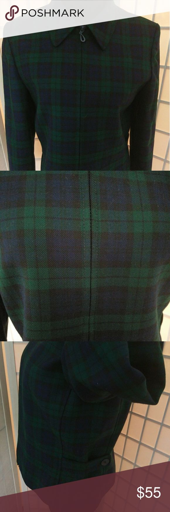 "Vintage Pendleton wool Black watch Tartan jacket Vintage Pendleton wool lined Black Watch Tartan jacket. Blue, green, black plaid. Scotland. Outlander. Punk Rock. Classic. In perfect condition. Size 4, Women's small. 100% Virgin wool outer, lined. Made in USA. Portland, Oregon. Collar can be worn up or down. Zip up. 23.5"" long. 18.5"" across laying flat from pit to pit. Pendleton Jackets & Coats"