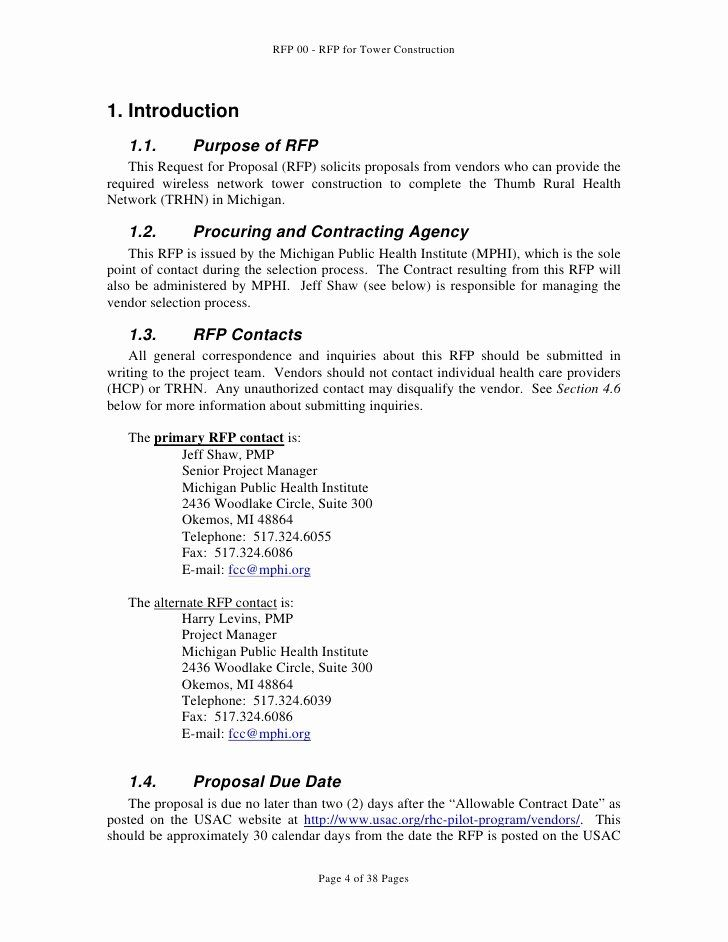 Request For Proposal Template Construction Best Of Request For Proposal For Tower Construction Request For Proposal Proposal Templates Proposal