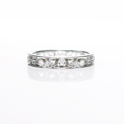 thin filigree ring white gold wedding band ring