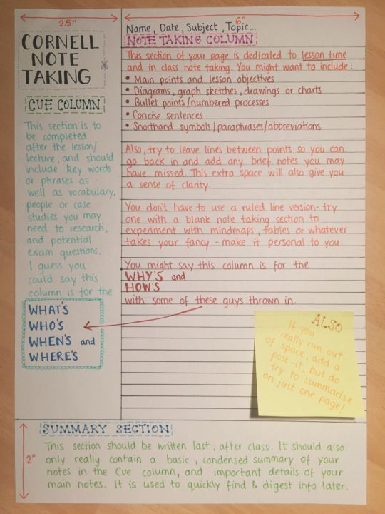 Note-taking is a must for success. Notes are very crucial to passing classes and tests; the cornell note taking method is a reccomended note-taking technique because it can summarize information the best in an organized way.