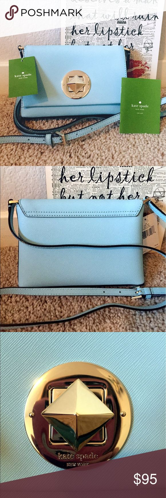 "NWT Kate Spade ♠️ Newberry Lane Sally Crossbody NWT super cute Kate Spade crossbody!! This gorgeous aqua blue (hydrangea) color with light gold plated hardware is the perfect style for spring. The interior is an adorable black and white pattern. The center piece spins to open and close the purse. DIMENSIONS: 7.5""-W 5""-H 1""-D 21"" adjustable strap drop. No trades please. Reasonable offers will be accepted :) kate spade Bags Crossbody Bags"