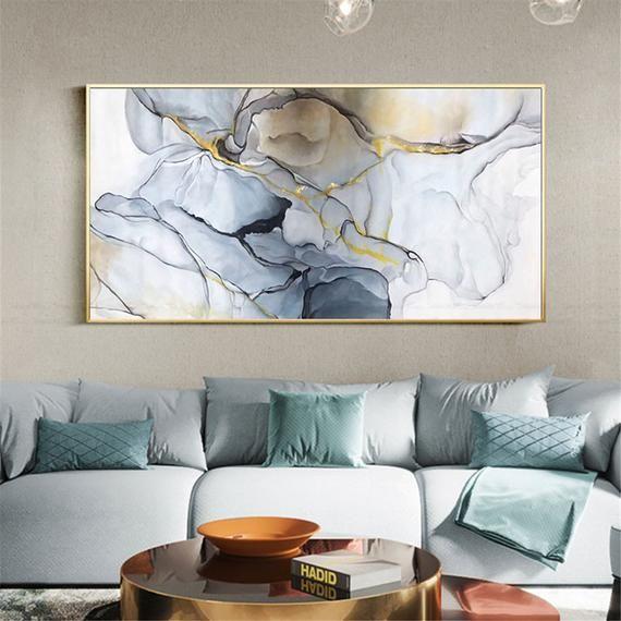 Wall Art Abstract Painting Blue Gray Acrylic Canvas Picture Etsy In 2021 Abstract Canvas Painting Wall Decor Bedroom Wall Decor Living Room Living room wall art 2021
