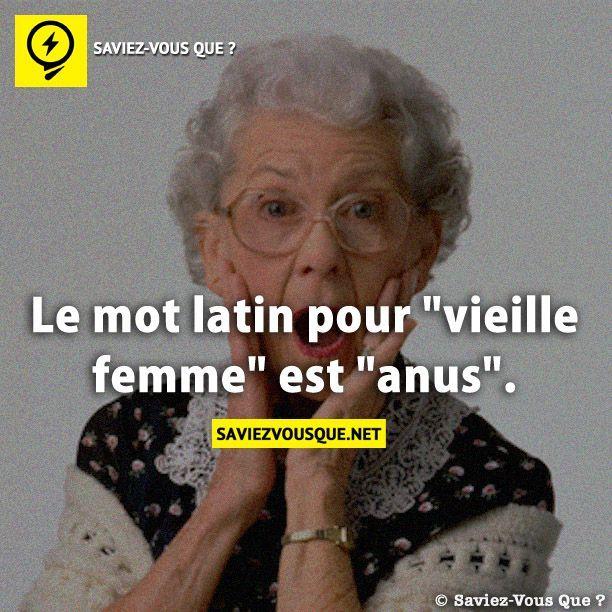 Le mot latin pour «vieille femme» est «anus». | Saviez Vous Que?