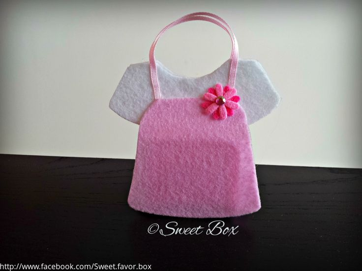 Pink/white baby dress favor bag, baby shower party favors