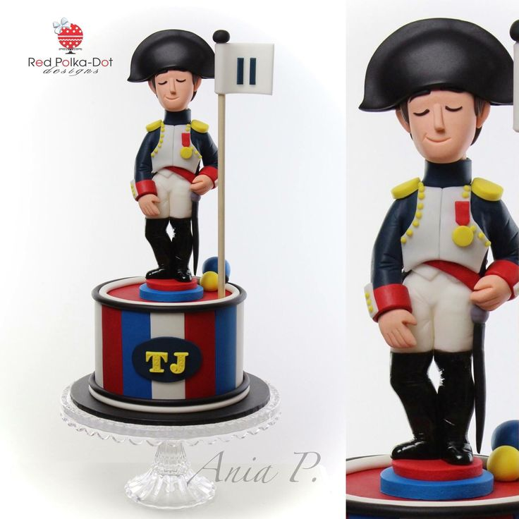 Napoleon cake with fondant figurine. By Red Polka dot Designs