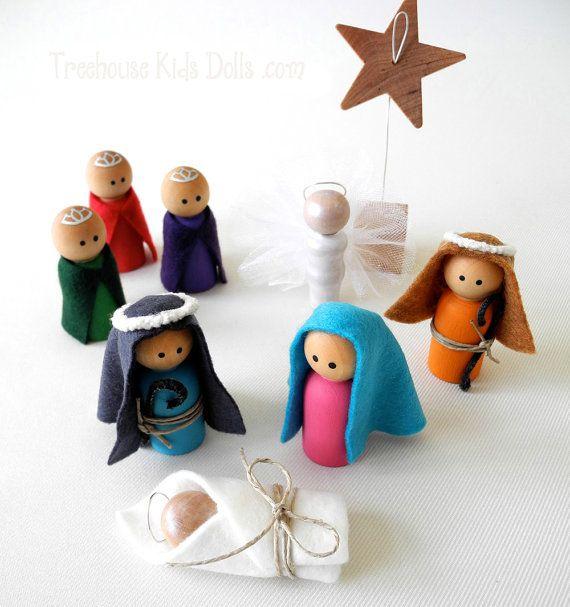 Decoración de la Navidad, conjunto Natividad Peg personas, niños Natividad Set, Natividad de madera, decoración de Navidad ecológico