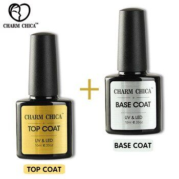 CHARM CHICA UV Gel Nail Polish Base Top Coat Matt Top Coat 10ml Transparent Soak…