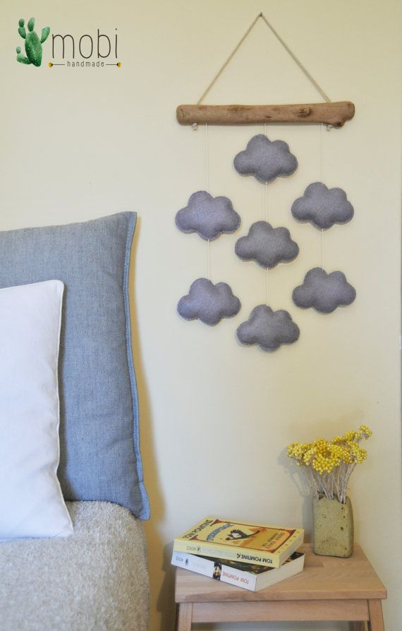 Handmade wall hanging with Clouds  Reclaimed by MobiHandmadeShop