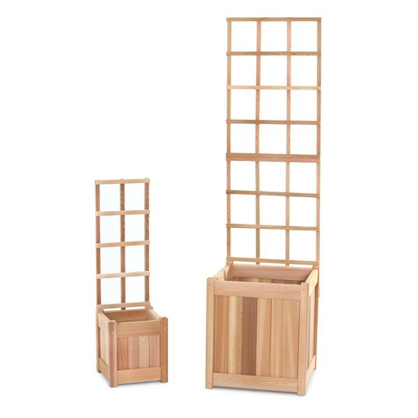 All Things Cedar Planter With Trellis 4 Pieces Pl1020 Set Rona Cedar Planters Wooden Trellis Vinyl Lattice Panels