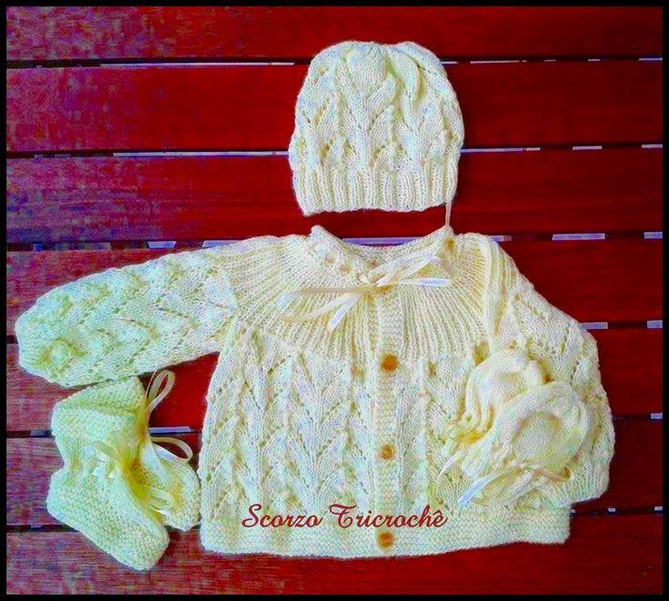 Scorzo Tricroche: Receita de casaquinho de bebê de tricô feito com p...
