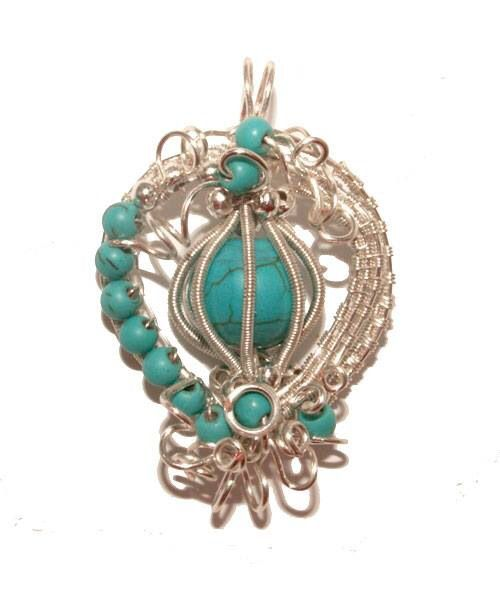 Wired Caged Turquoise Pendant