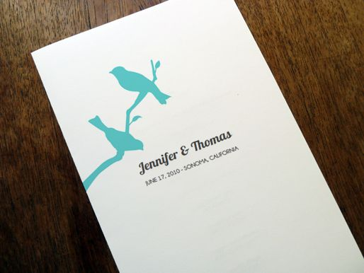 Ideas for Program...switching sides for 'order of service' & 'wedding party'.  Printable Wedding Program - Love Birds