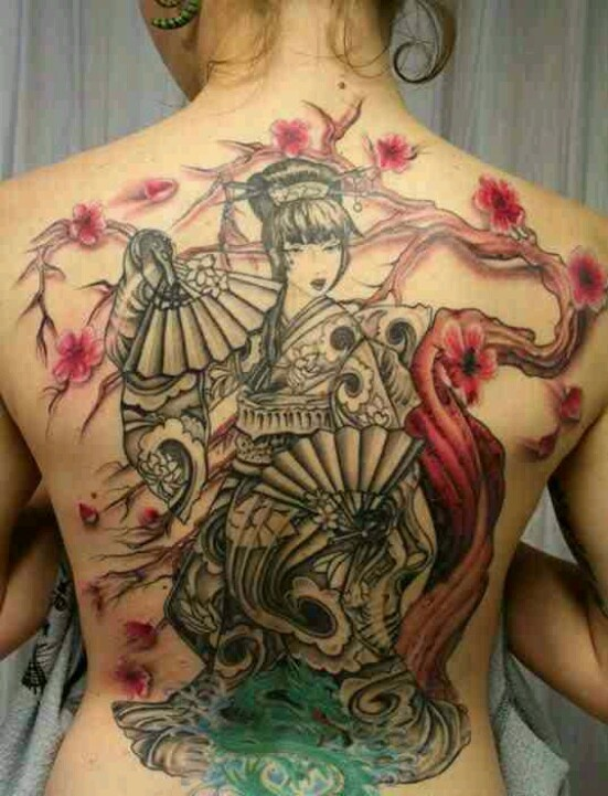 Japanese geisha tattoo, cherry blossoms, tree, pink petals, back tattoo