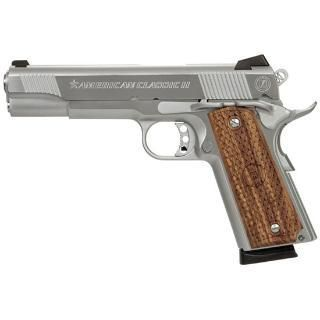 "NOVA Firearms | American Classic, 1911, Full Size, 9MM, 5"" Barrel, Hard Chrome Finish, Wood Grips, 8Rd, Fired Case"