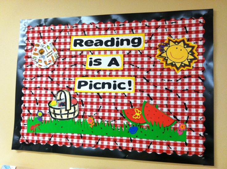 Reading is a picnic bulletin board at the Charleston Public Library in Charleston, AR.