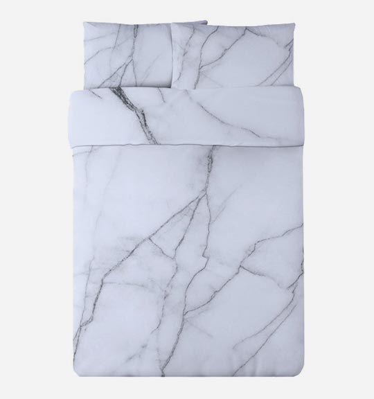 Safe House USA White Marble Duvet Set