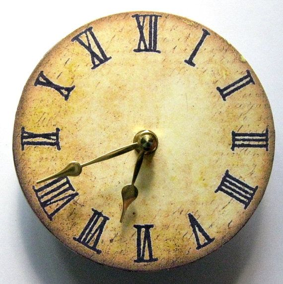 Small wall clock. Vintage clock. Retro clock. by paperannie