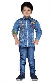 Cotton Party Wear Shirt & Jeans Set In Blue Colour