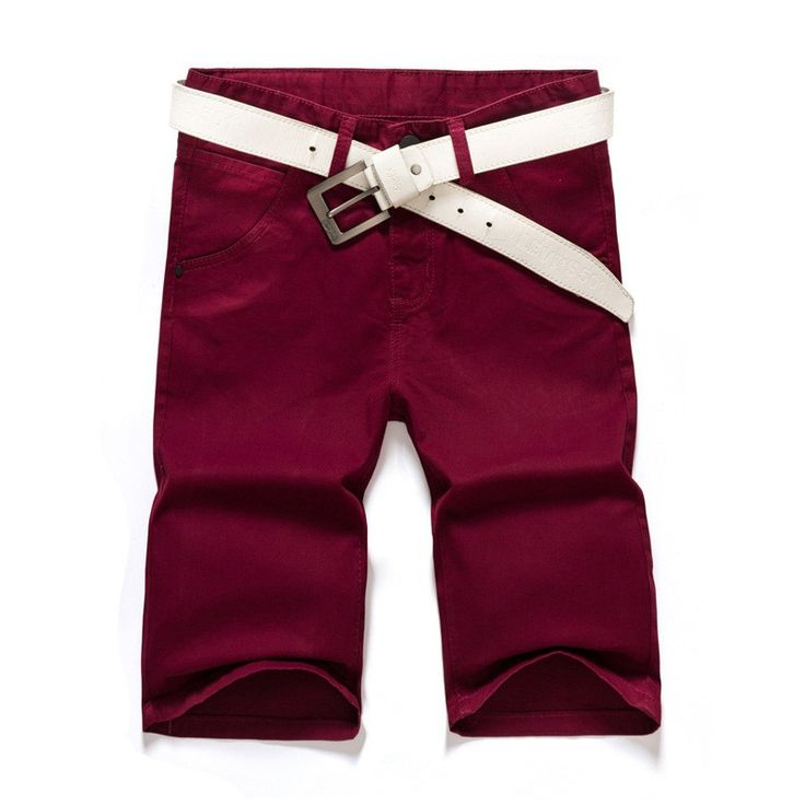 Men Chino Shorts, Casual Summer Shorts, Maroon