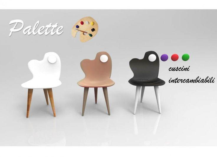 Palette è una sedia che prende ispirazione dalla forma della tavola dei colori. Particolare per la sua forma asimmetrica, ha inoltre la caratteristica di poter cambiare i cuscini in vari colori, grazie al buco che c'è in cima.