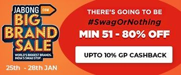 Use Jabong Coupons to avail discount up to 51-80% and along with this 10% GoPaisa Cashback