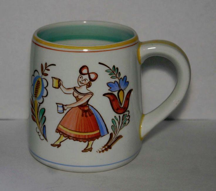 Mid Century ARABIA Finland Pottery Mug w/ Woman Holding Mugs Pitchers