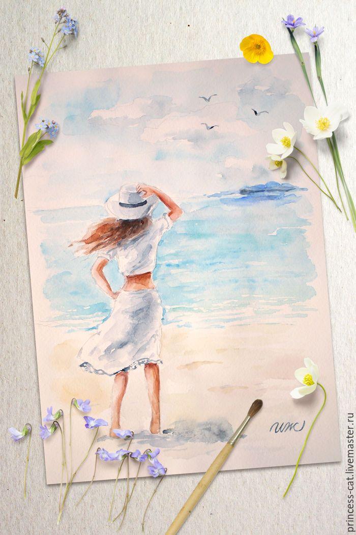 """Купить Картина акварелью """"Морской бриз"""" - голубой, синий, морской, морская тема, морская волна"""