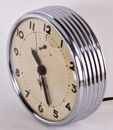 c. 1930's antique machine age art deco style round chrome wall clock