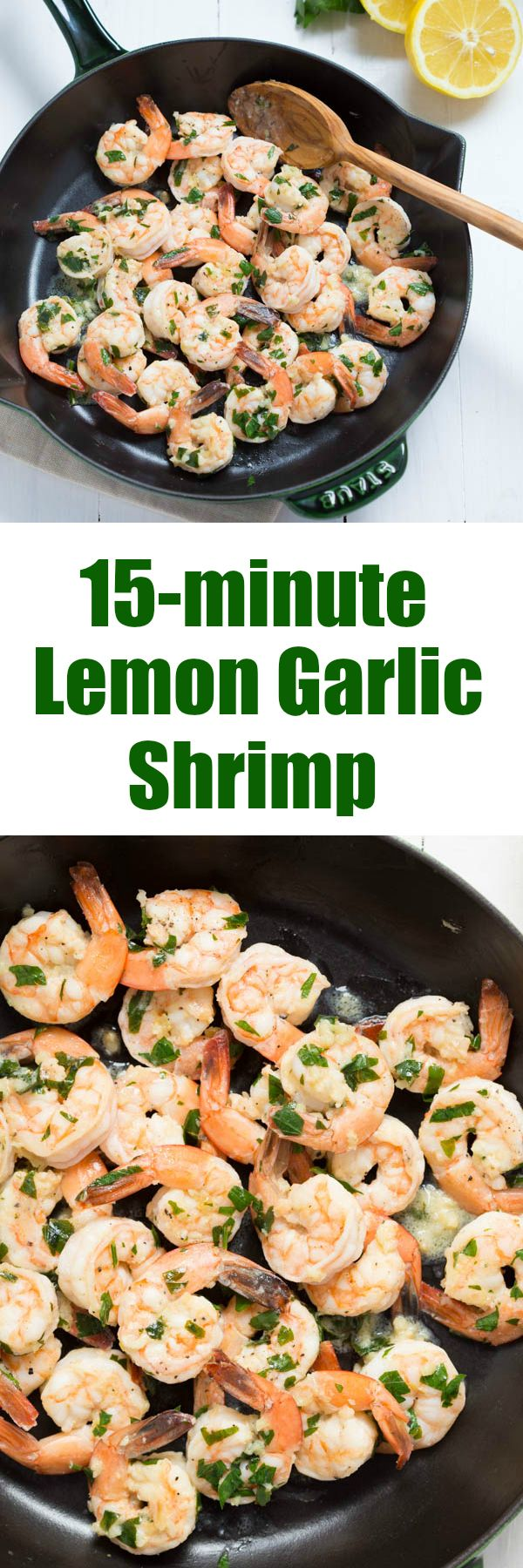 15-minute Lemon Garlic Shirmp - requires only a few simple ingredients to create a delicious meal!