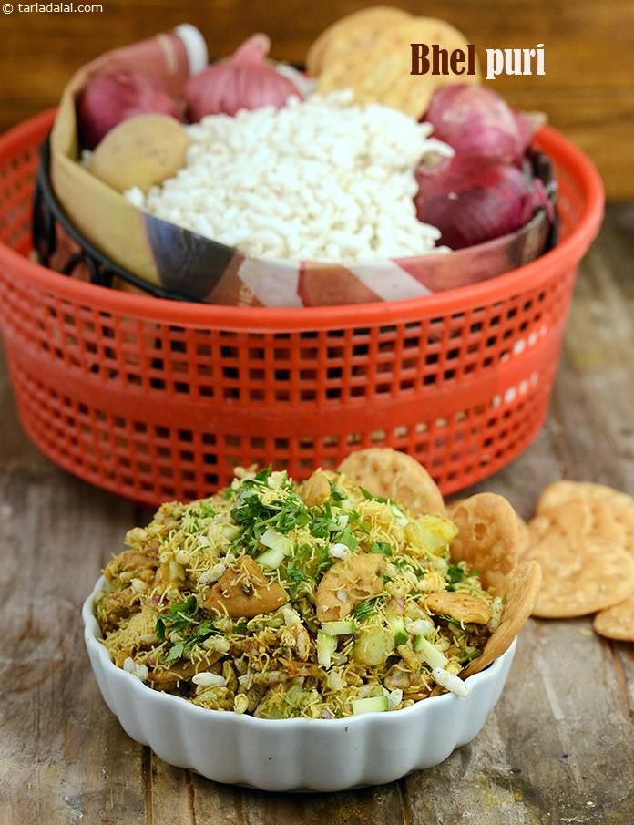 Bhel Puri, Bhel Puri Chaat Recipe recipe | Quick Indian Healthy Recipes | by Tarla Dalal | Tarladalal.com | #4093