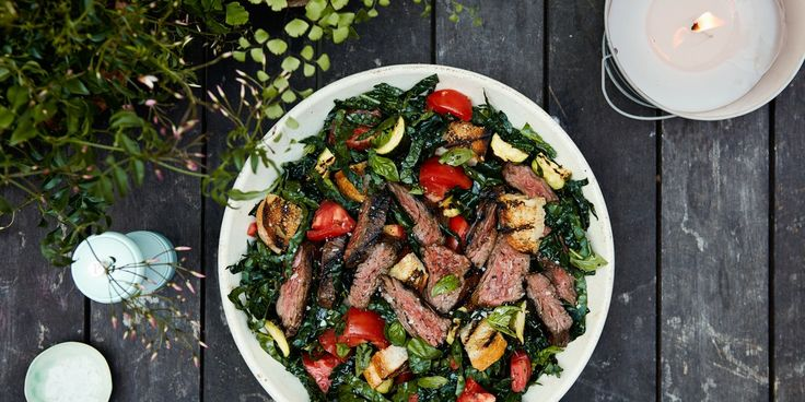 Grilled Steak Panzanella Salad with Tomato Vinaigrette | Epicurious.com