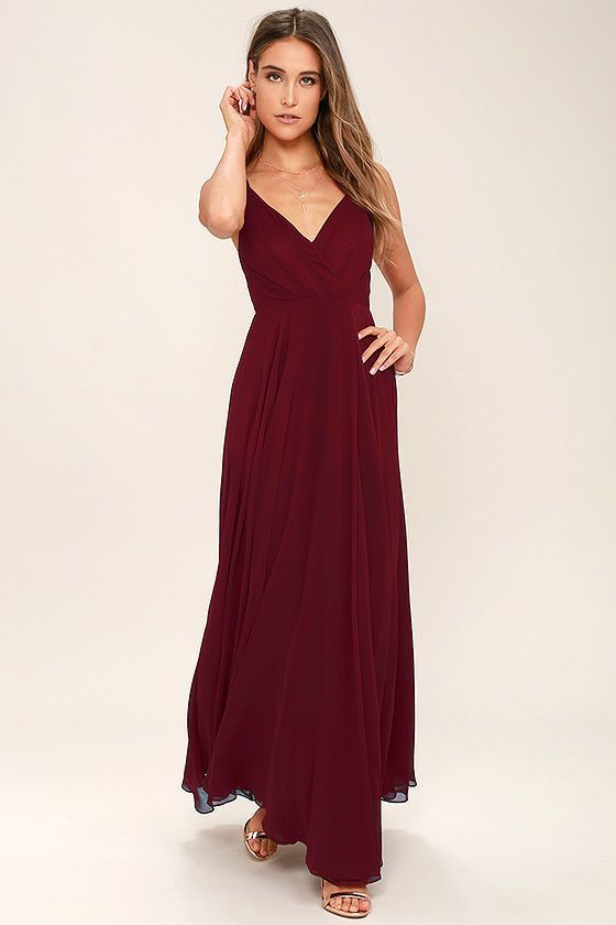 All great love stories start with the All About Love Wine Red Maxi Dress! Woven poly shapes a pleated, surplice bodice (with modesty snap), fitted waist, and cascading maxi skirt. Adjustable straps. Hidden back zipper/clasp.