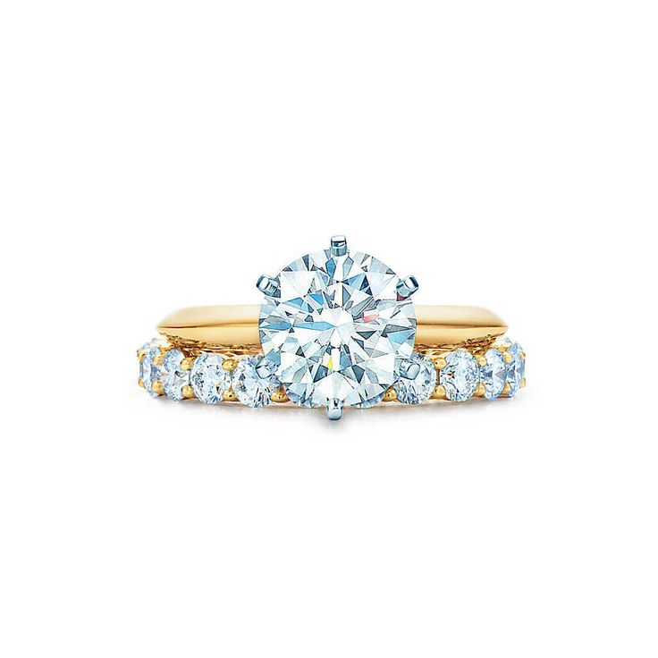 The Tiffany® Setting 18K Yellow Gold Engagement Rings-Would love the engagement band to have diamonds too