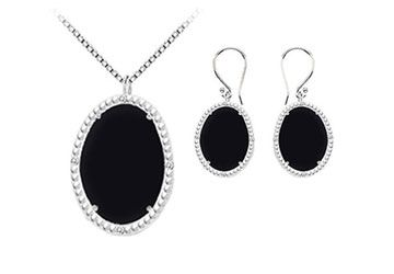 Black Onyx and Cubic Zirconia Pendant with Earrings Set in Sterling Silver 45.24 CT TGW
