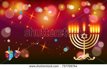 Happy Hanukkah Holiday greeting poster with donuts - traditional cakes, dreidel spinning top, candles, fire flame, menorah, bokeh abstract background, defocus lights effect, Festival of lights Israel