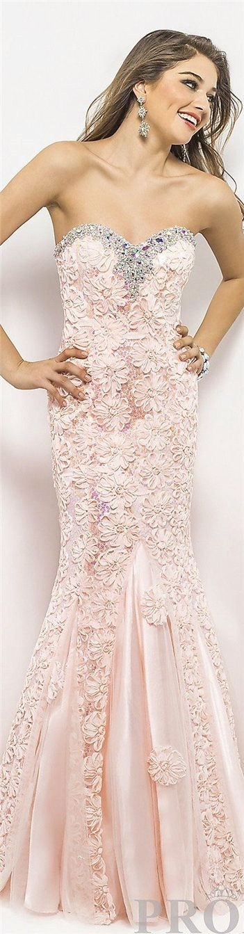 Sweetheart crystal floral nude pink chiffon mermaid prom dress