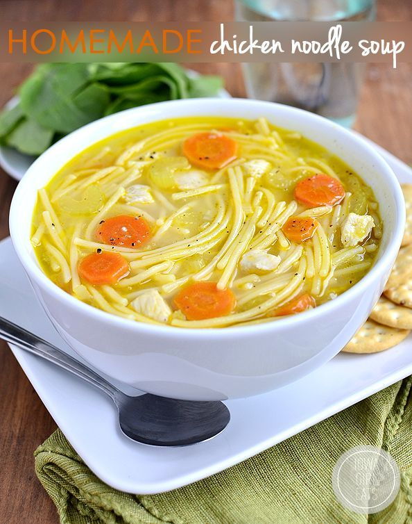 Homemade Chicken Noodle Soup is ready in under 30 minutes and made with fridge and pantry staples. The most comforting soup you will ever slurp! #glutenfree | iowagirleats.com