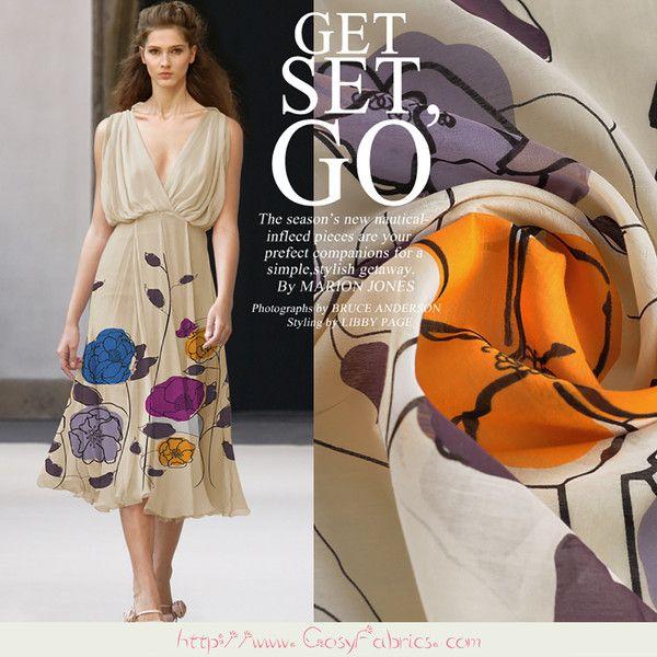 Tessuto+Cotone+misto+seta+con+motivo+floreale+di+Fabrichome+su+DaWanda.com