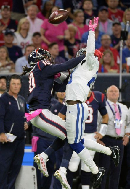 Colts vs. Texans:   October 17, 2016   -  26-23, Texans  -     Indianapolis Colts' Vontae Davis (21) breaks up pass intended for Houston Texans' DeAndre Hopkins (10) during the first half of an NFL football game Sunday, October, 16, 2016, in Houston.