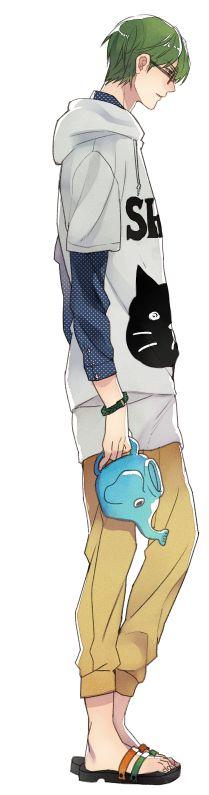 Kuroko no Basket ■Midorima Shintarō ●Midorima Shintarou 売り子さんが来ていた服が可愛くていつか絶対緑間に着せようと思っていたのをようやく着せられた…猫のとこポケットになっててめっちゃ愛らしい服でした…